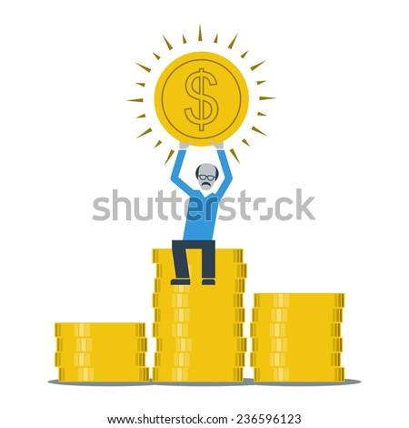 pension savings - stock vector