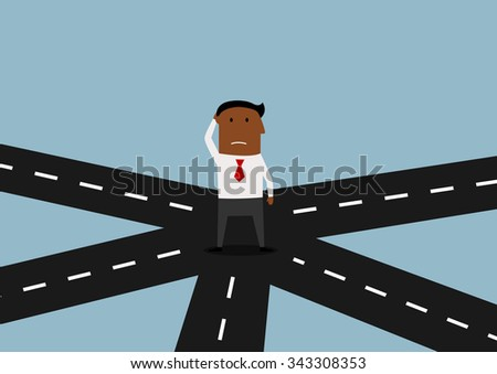 Pensive african american businessman standing on crossroad and thinking about direction of his business strategy. Cartoon flat character  - stock vector