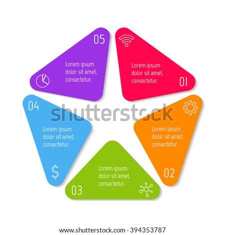 Pentagon infographic banner with 5 options. Isolated number banner template for diagram, presentation or chart. Progress steps for tutorial. Business concept sequence banner. - stock vector