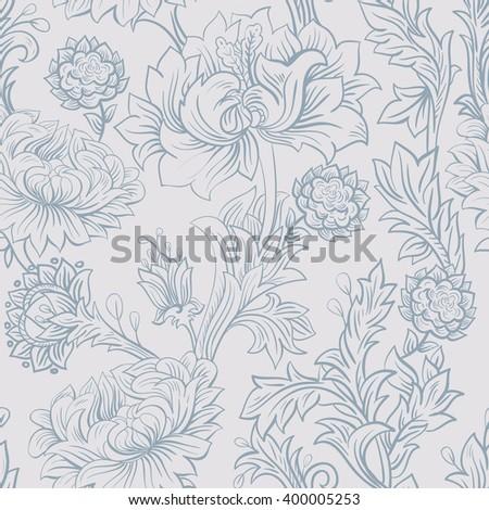 Peonies sketch. Seamless pattern - stock vector