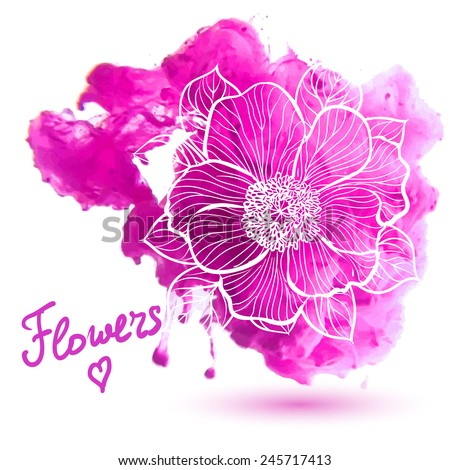 Peony flowers on a watercolor background. Decorative floral illustration  - stock vector
