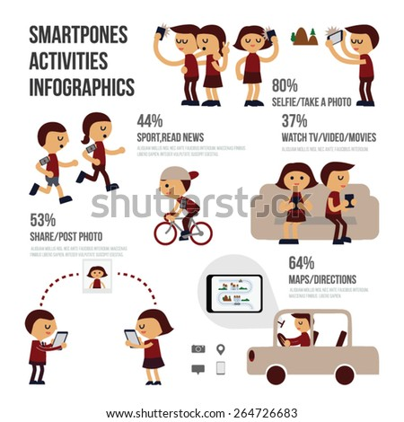 People activities with Smartphones.Smartphones infographics. - stock vector