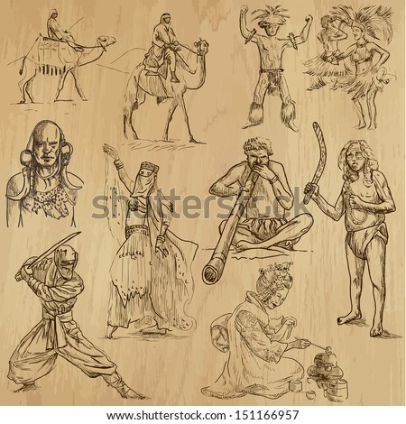 People and customs around the World (set no.6). Collection of hand drawn illustrations (originals, no tracing). Each drawing comprise of two layers of outlines, colored background is isolated. - stock vector