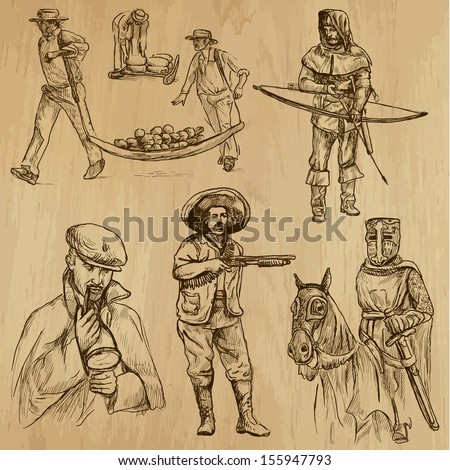 People and customs around the World (set no.8). Collection of hand drawn illustrations (originals, no tracing). Each drawing comprises of two layers of outlines, the colored background is isolated. - stock vector