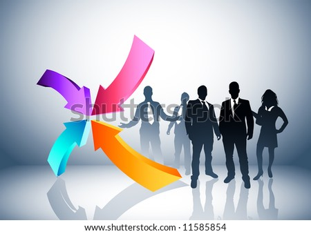 People and direction concept. Vector illustration. - stock vector
