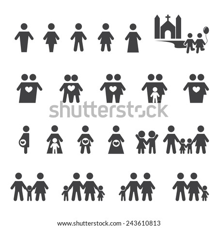 people and family icon - stock vector