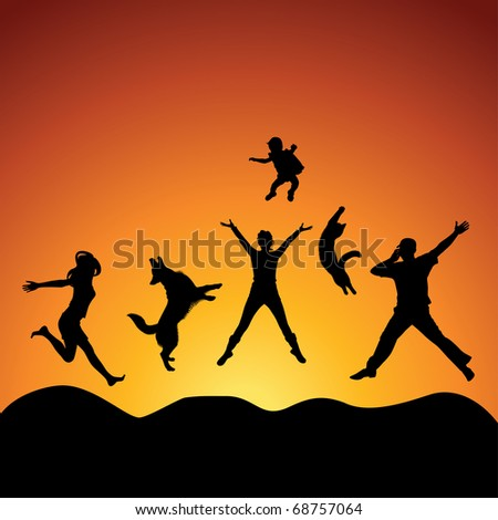 people and pets jumping over sunset, vector - stock vector