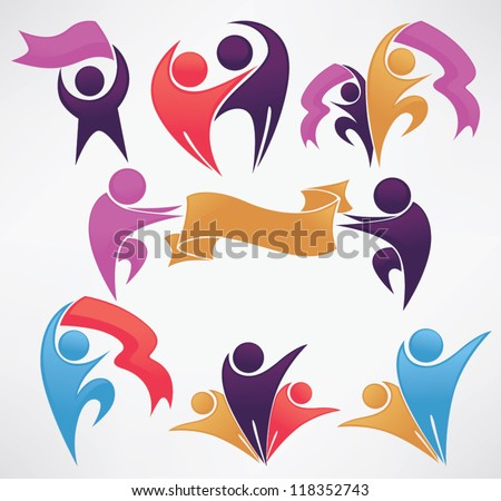 people and ribbons, leadership and victory vector collection of symbols - stock vector