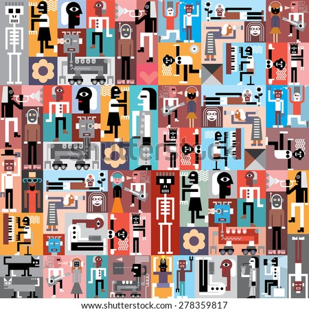 People and Robots. Vector graphic design. Composition of various pictures  - stock vector