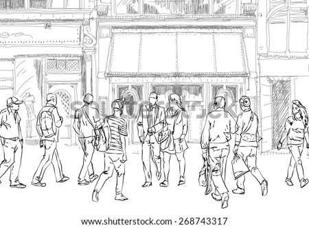People and tourists in Bond street. London.. Sketch collection - stock vector