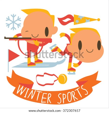 people and winter sports activities: ski, skate, sled and others. Winter competitions: Biathlon and Speed Skating - stock vector