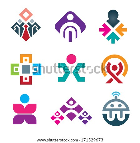 People are connecting through live colorful social interaction media logo icon set - stock vector