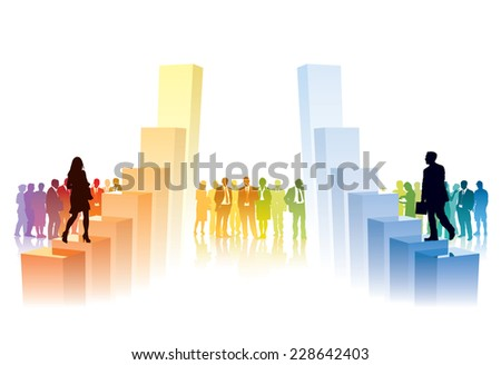 People are going to take their position on big charts - stock vector