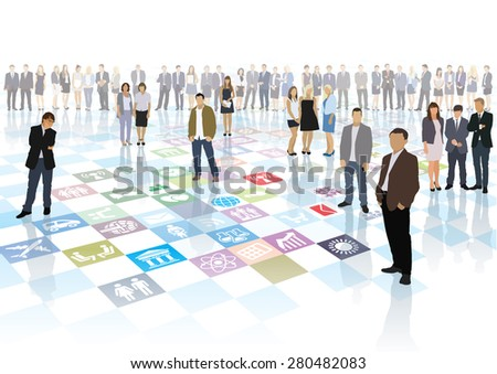 People are playing the strategic business game - stock vector
