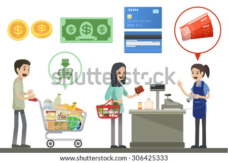 People are shopping in supermarkets - Vector Illustration, Graphic Design - stock vector