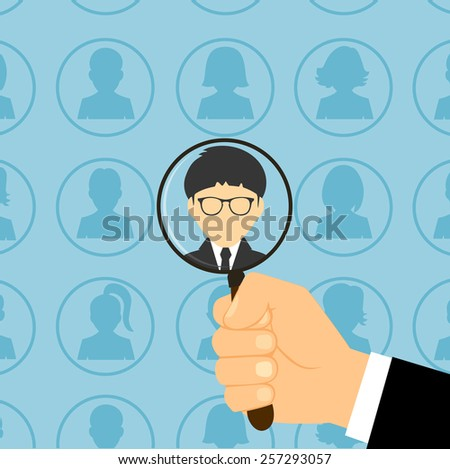 people are under the magnifying glass - stock vector