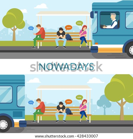 People are waiting a bus and using mobile gadgets such as smartphone and tablet pc and sitting on the bus stop. Student bus arrived and departed but young people still use gadgets. Flat fun concept - stock vector