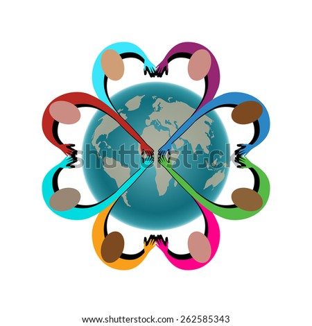 People arms in shape of heart joining together world behind - layered  - stock vector