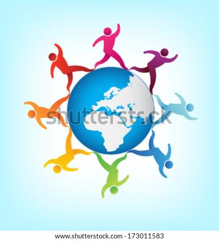 People around the world Africa-Europe - stock vector