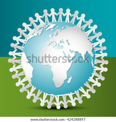 People Around the World. People Around Globe. Vector Paper Cut People Holding Hands on Earth. - stock vector