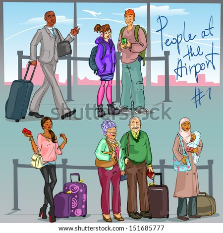 People at Airport 1 - hand drawn set of people with luggage. - stock vector