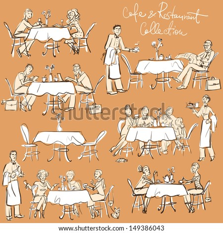 People at cafe and restaurant - Hand drawn Collection. Clip Art. - stock vector