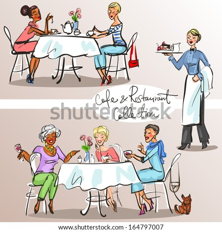People at cafe and restaurant - Hand drawn Collection. Colorful version, part 2 - stock vector