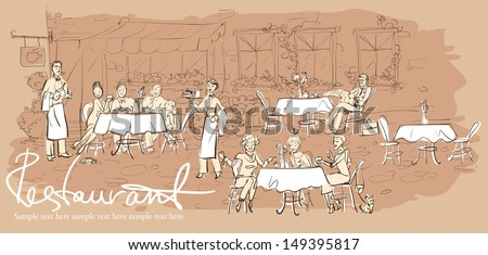 People at restaurant, outdoor cafe - Hand drawn horizontal background with sample text - stock vector