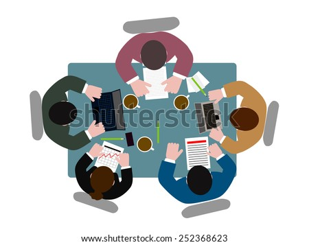 people  at  table the top view - stock vector