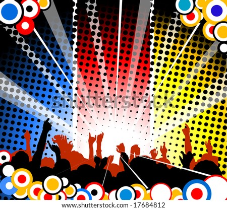 People at the concert - blue, red and yellow version - stock vector