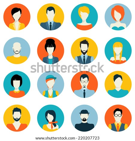 People avatar male and female human faces social network icons set isolated vector illustration - stock vector