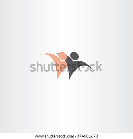 people black and white race hugging friend vector icon diverse - stock vector