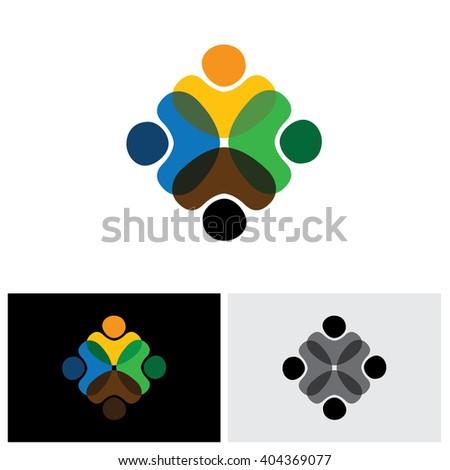 people bonding vector logo icon in eps 10 format - stock vector