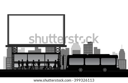 people, bus stop in the city with blank advertising billboard, silhouette style, isolated vector - stock vector