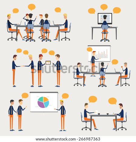 people business  character on work element.business cartoon for info-graphic - stock vector