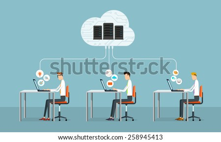 people business working on cloud network.data server - stock vector
