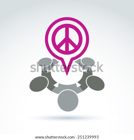 People chat on harmony idea.  Conceptual  antiwar sign from 60th, hippy icon.  Speech bubble with a global peace symbol. - stock vector