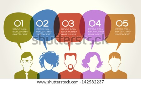 People Chatting. Vector illustration of a communication concept, relating to feedback, reviews and discussion. The file is saved in the version AI10 EPS. This image contains transparency. - stock vector