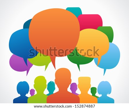 People Chatting. Vector illustration of a communication concept, relating to feedback, reviews and discussion. - stock vector