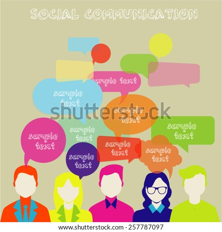 People Chatting. Vector illustration of a communication concept, relating to feedback, reviews and discussion.  This image contains transparency. - stock vector