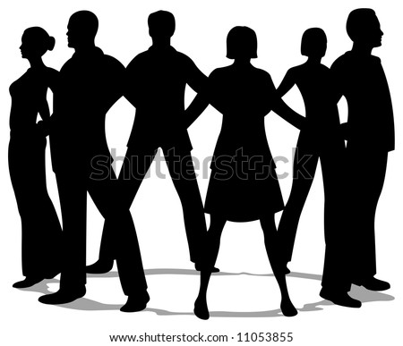 people circle silhouette - stock vector