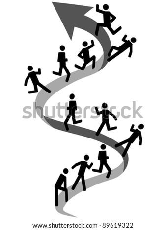 people climbing on up arrow - stock vector