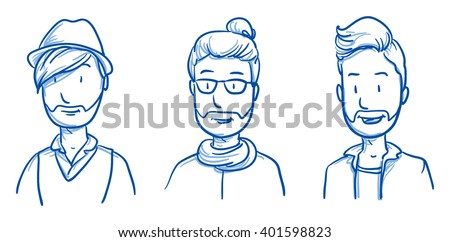 People collection MEN. Set of three happy young hipster men in casual clothes,  expressing positive emotions. Hand drawn line art cartoon vector illustration. - stock vector