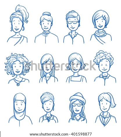 People collection WOMEN. Set of various happy women in business and casual clothes, mixed age expressing positive emotions. Hand drawn line art cartoon vector illustration. - stock vector