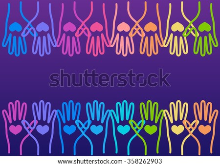 People colorful hands united with love to together. Illustration of teamwork, solidarity, friendship, partnership, communication, united, meeting - stock vector
