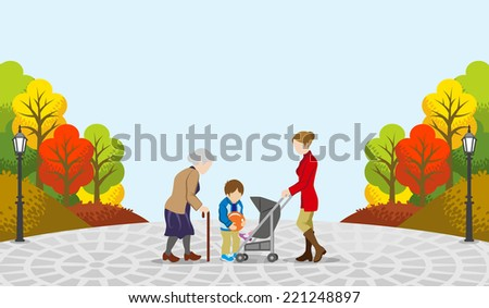 People communicate in the Autumn park-EPS10 - stock vector