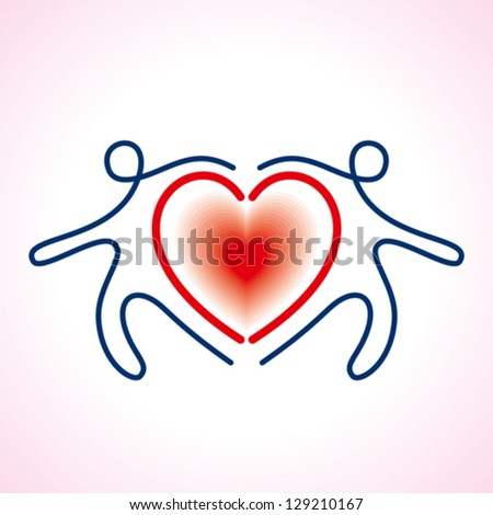 People Connected a heart Symbol - stock vector