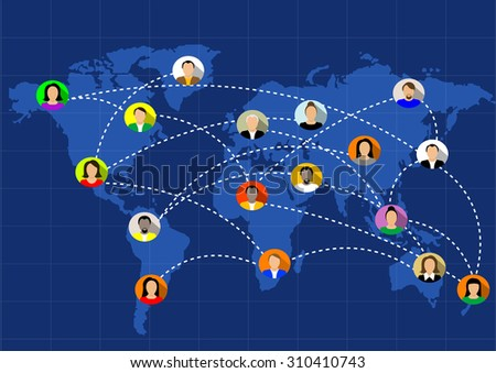 people connected all around the world. Vector - stock vector