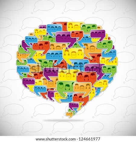 People Connected In Speech Bubbles. Social Media In Talk Bubbles. Shape Composition Background. Vector Illustration, On Gray Background, Graphic Design - stock vector