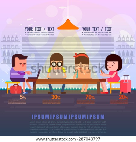 People connected to internet using different devices, People using technology concept on workspace, Vector illustration. - stock vector